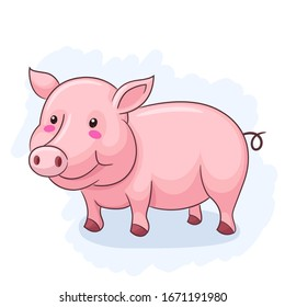 Cute And Adorable Pig standing up. Vector Illustration