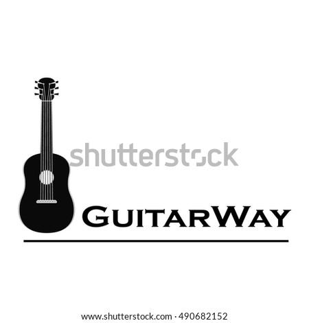 Cute Aesthetic Black White Logo Guitar Stock Vector Royalty Free