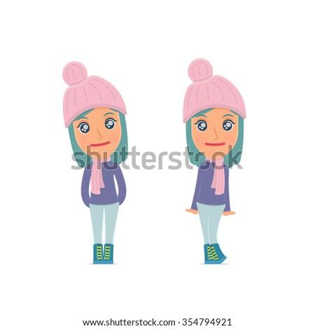 Shy girl poses