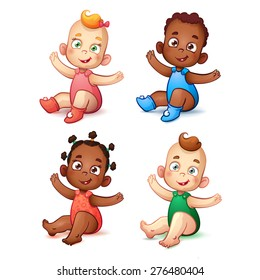 Cute African American baby boy and girl.  Sweet white skin children. Happy Children With Open Arms. Healthy happy children