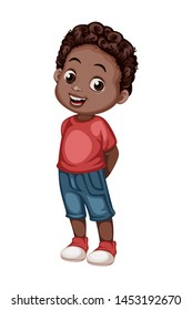 Cute African American Boy Character  Isolated on White Background. Cartoon Vector Young Kid Wearing Casual Clothes