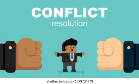 Cute African American Businessman Resolves Conflict, Argument. Employee Stops Confrontation Acts as Mediator. Cartoon Flat Vector Illustration.