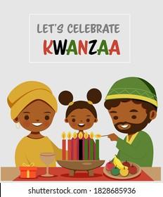 Cute African American family cartoon celebrating Kwanzaa festival