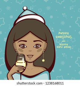 cute african american girl in holiday cap and with glass of champagne merry christmas