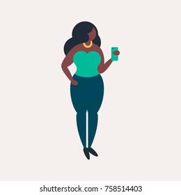 Cute african american girl with smartphone. Plus size model. Dark skin woman. Fashion