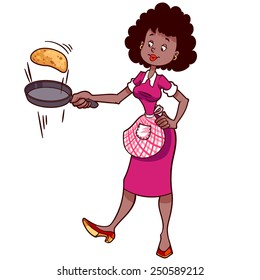 Cute African American housewife in apron with a frying pan and pancake