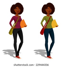 cute African American student girl in casual outfit