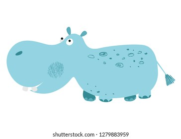 Cute African animal. Blue hippopotamus. Vector background. Hand drawn illustration. Chalk and pencil brush texture. Funny character for kids. Isolated elements for stickers, cards, invites and posters