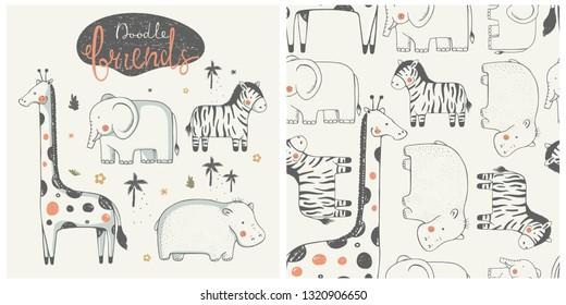 Cute African animal set. Zebra, Hippopotamus, giraffe, elephant. hand drawn color character. with seamless pattern. -Vector