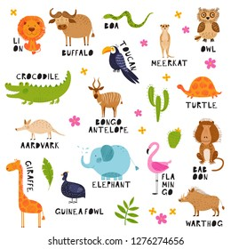 Cute African animals, birds and flowers. Vector background. Hand drawn illustration. Summer set. Funny characters for kids. Isolated on white elements for stickers, cards, invites and ads.