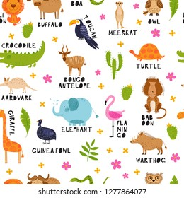 Cute African animals, birds and flowers. Vector seamless pattern. Bright background. Hand drawn illustration. Summer set. Funny characters for kids. Isolated on white for fabric, endless surface.