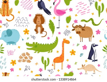 Cute African animals, birds and flowers. Vector seamless pattern. Chalk and pencil hand drawn texture. Funny background for kids.  Tropical set. Isolated illustration for fabric, endless surface.
