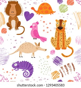 Cute African animals and birds. Vector seamless pattern. Bright summer background. Hand drawn illustration. Pencil texture. Funny characters for kids. Isolated on white for fabric, endless surface.