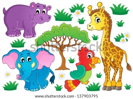 Cute African Animals Collection 1 Eps 10 Stock Vector Royalty Free