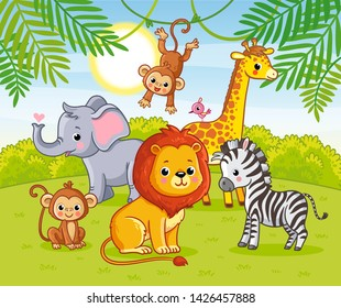 Cute African animals in the jungle. Animals in the green jungle in a cartoon style.