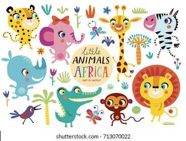 Cute African animals on a white background. Childish vector illustration of elephant, lion, giraffe, Zebra, Rhino, crocodile, monkey, butterfly, bird and leopard.