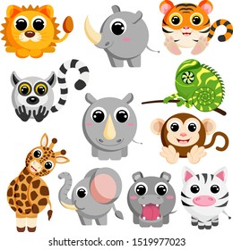 Cute african animals set vector image