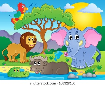 Cute African animals theme image 9 - eps10 vector illustration.
