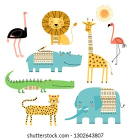 Cute African animals. Vector set of children's drawings. Traditional ornaments, ethnic and tribal motifs. Doodle style. Elephant, hippo, giraffe, crocodile, lion, cheetah, flamingo, ostrich.