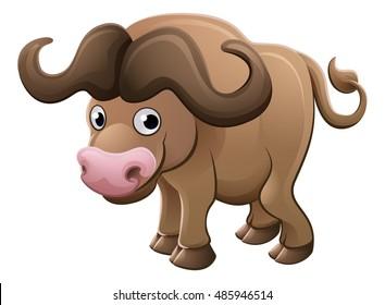 A cute African Cape Buffalo animal cartoon character mascot