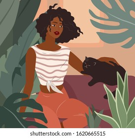 Cute african girl resting with a cat on couch. Feminine Daily life and everyday routine scene by young woman in home interior with homeplants. Cartoon vector illustration