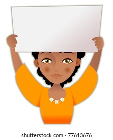 Cute African woman presents with a blank white board