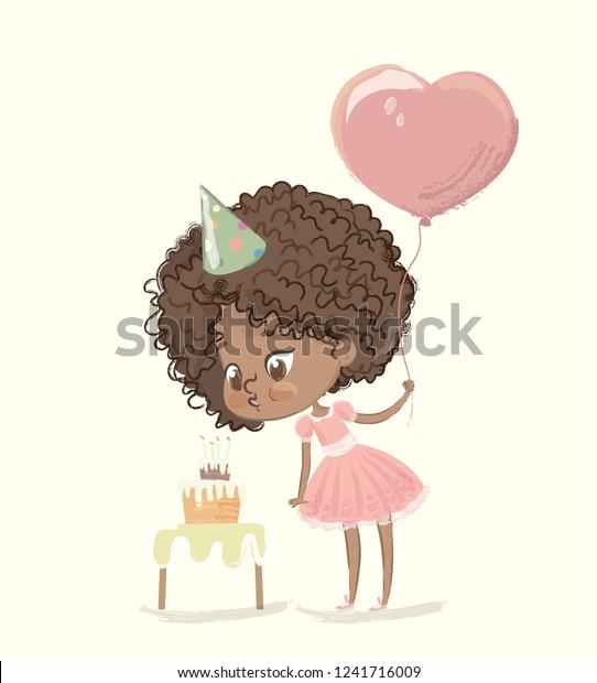 Tremendous Cute Africanamerican Happy Girl Balloon Birthday Stock Vector Funny Birthday Cards Online Unhofree Goldxyz