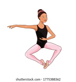 Cute Afro American ballerina performs ballet figures, dance pose. Vector illustration isolated on a white background. Character, symbol, design element.