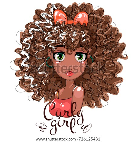 Cute Afro Girl Curly Hair Beauty Stock Vector Royalty Free