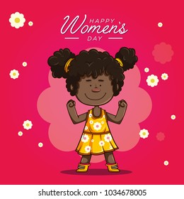 Cute afro girl smiling in a yellow dress with white flowers and fuchsia stockings, making sign of being strong with a text above Happy Women's Day. illustration on flower background.
