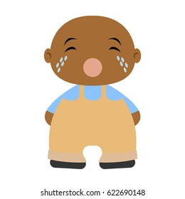 Cute Afro-American baby boy. Little toddler is crying. Vector illustration.