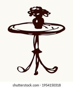 Cute aged circular curve carve shape stylish leg base pencil object. Outline black ink pen hand drawn logo pictogram emblem. Ancient art doodle print on light paper text space backdrop. Close up view