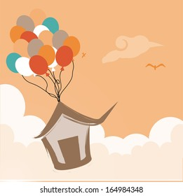 cute air balloons over pink background. vector illustration