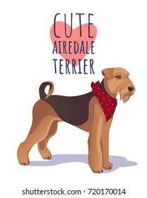 Cute  airdale terrier dog. Character mascot. Vector clip art