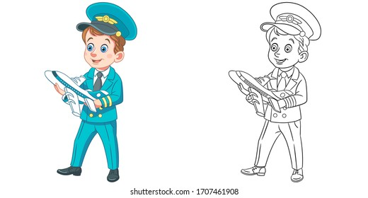Cute airplane pilot with plane model. Coloring page and colorful clipart character. Cartoon design for t shirt print, icon, logo, label, patch or sticker. Vector illustration.
