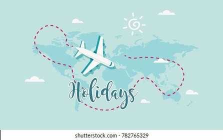 Cute airplane with text Holidays