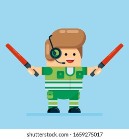 Cute Airport Worker Holds Two Red Marshall Sticks Showing Direction. Caucasian Male Ground Service Officer in Green Uniform. Stock Flat Cartoon Vector Illustration.
