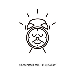 Cute Alarm Clock Character Smile Mustache Stock Vector Royalty Free
