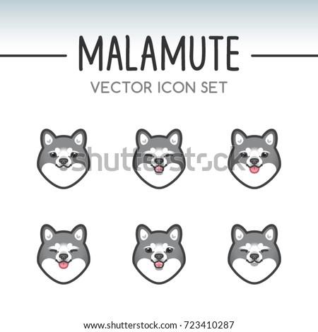 Cute Alaskan Malamute Dog Breed Vector Icon Sticker Set Inspired By Kawaii Japanese Anime Style