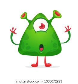 Cute alien cartoon with one eye and big head surprised. Vector illustration isolated on white