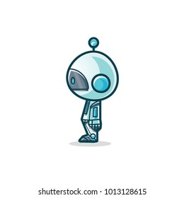 Cute Alien Character Side Pose. vector Illustration. isolated on white Background.