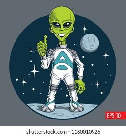 Cute alien character. Vector illustration.