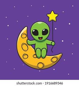 Cute Alien Holding Star Balloon Moon Cartoon Illustration