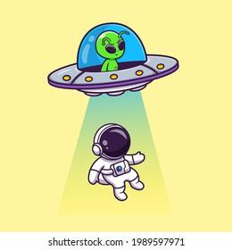 Cute Alien Spaceship UFO Invasion Astronaut Cartoon Vector Icon Illustration. Science Technology Icon Concept Isolated Premium Vector. Flat Cartoon Style