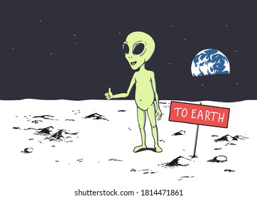 Cute alien trying to get to Earth by hitchhiking from Moon or other planet. Humanoid hitches a ride. Vector illustration