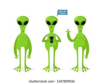 Cute Aliens. Cartoon Style. Vector Illustration