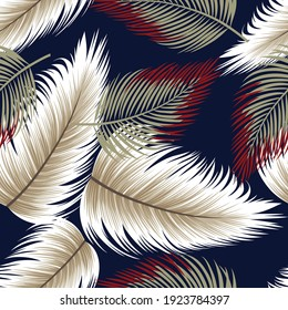 cute all over seamless vector leaf pattern on navy background