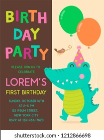 Cute alligator with little bird cartoon illustration for kids party invitation card.