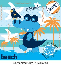 cute alligator and parrot on the beach vector illustration