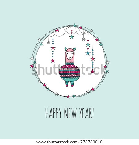A cute alpaca in a circle wreath with stars, swirls, sparkles and the words happy new year underneath, on a light background, vector illustration.